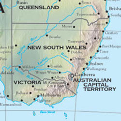 Australia Shaded Relief WALL Map.