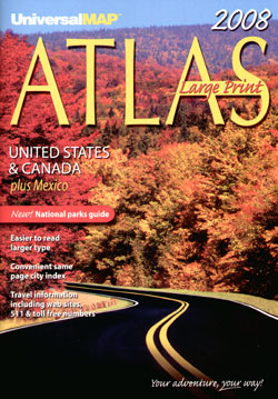 """United States, Canada and Mexico """"Large Print"""" Road and Tourist ATLAS."""